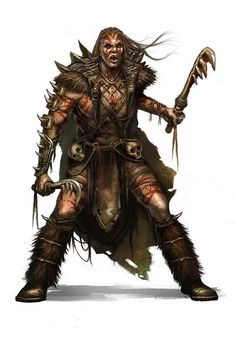 f Half Orc Barbarian 2 Clubs Wilderness