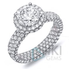 925 Sterling silver CZ Solitaire Engagement ring with AAAAA grade CZ all over the ring by Nikigems.com