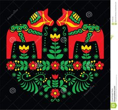 Swedish Dala Or Daleclarian Horse Floral Folk Art Pattern On Black - Download From Over 46 Million High Quality Stock Photos, Images, Vectors. Sign up for FREE today. Image: 44105759