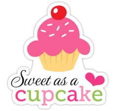 Sticker featuring a cupcake with pink icing and red berry. Text 'sweet as a cupcake'