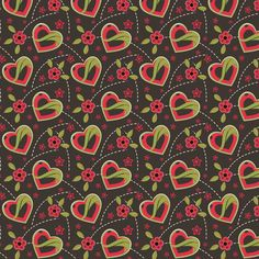 Strawberry Brown Hearts & Flowers fabric by eppiepeppercorn at Spoonflower