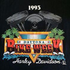 Harley-Davidson Black Mens Lg T-Shirt 1993 Daytona Beach Bike Week Made In USA