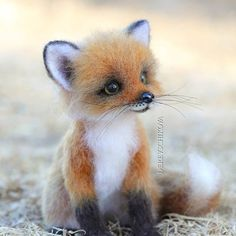 Yulia Derevschikova, an artist from Khabarovsk, Russia, creates adorable woodland creatures using a needle felting technique. Baby Animals Super Cute, Cute Wild Animals, Baby Animals Pictures, Cute Little Animals, Cute Animal Pictures, Cute Funny Animals, Felt Animals, Animals Beautiful, Animals And Pets