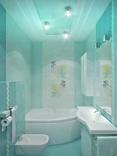 turquoise bathroom - great corner tub - wonder what it's like as a shower, too