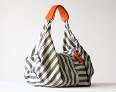 Kallia in Striped canvas and Orange leather details by milloo,