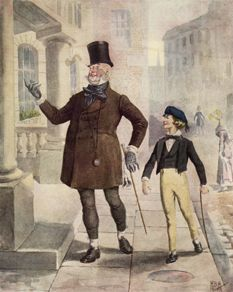 Micawber and young David Copperfield. - 18 Vintage Photos Of Charles Dickens' London. Charles Dickens Books, Oliver Twist, London History, Theatre Costumes, Old London, Christmas Carol, Xmas, New Books, Vintage Photos
