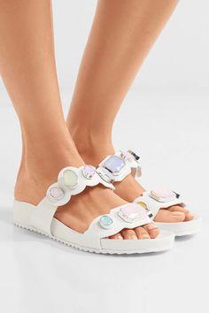 Sophia Webster - Becky Crystal-embellished Leather Sandals - White - IT Jennifer Fisher, Sophia Webster, White Leather, Leather Sandals, Me Too Shoes, Baby Shoes, Crystals, Heels, Products