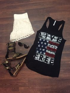 I love the tank top!  Nor do much everything else Tank $24. Denim shorts with lace $32 www.sevenandcoboutique.com