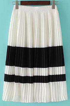 Color Block Elastic Waist Pleated Skirt - WHITE L