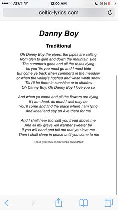 Oh Danny Boy Lyrics. I've never heard a bad version when sung with heart and emotion ❤️ Great Song Lyrics, Songs To Sing, Music Lyrics, Music Songs, Mom Song, Baby Songs, Kids Songs, Irish Songs, Musica