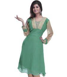 Buy Green Coloured Faux Georgette And Chiffon Kurti kurtas-and-kurti online