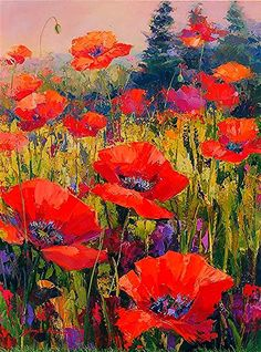 Paint colors from ColorSnap by Sherwin-Williams Poppy Flower Painting, Acrylic Painting Flowers, Abstract Flowers, Acrylic Art, Watercolor Flowers, Flower Art, Watercolor Art, Poppies Art, Poppies Painting