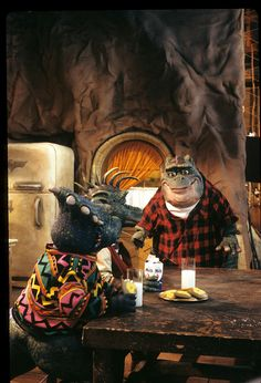 DINOSAURS - 'Baby Talk' - Airdate: October 10, 1992. (Photo by ABC Photo Archives/ABC via Getty Images) L-R: CHARLENE SINCLAIR;ROBBIE SINCLAIR;EARL SINCLAIR Earl Sinclair, Dinosaurs Tv, Disney Dinosaur, Abc Photo, October 10, Photo Archive, Movie Tv, Comedy, Cartoons