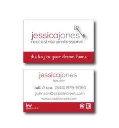 Real Estate Business Cards RED Key Modern Realtor - color both sides FREE UPS…