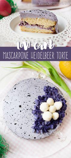 Österliche Mascarpone Heidelbeer Torte mit Vanille-Kokos Eiern www.lowcarbkoestlichkeiten.de #glutenfrei