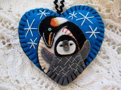 Penguin Love Ornament on Turquoise Blue by SandhraLee on Etsy, $18.00