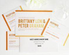 Orange Wedding Invitation, Modern Wedding Invitation, Wedding Invites - Modern Stack Wedding Invitation - Sample Set on Etsy, $6.85 CAD