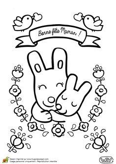 Illustration d'un petit lapin souhaitant une bonne fête à sa maman, à colorier