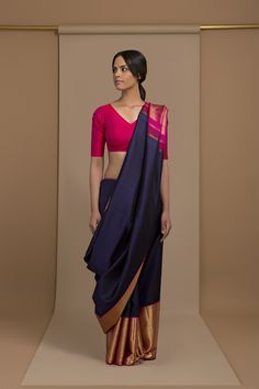 awesome Gorgeous Navy Saree with Magenta Pallu and Wide Bottom Zari Border. Saree Draping Styles, Saree Styles, Indian Attire, Indian Ethnic Wear, Indian Style, Indian Sarees, Silk Sarees, Cotton Saree, Indian Bollywood