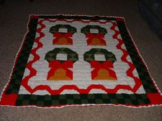 "Handcrafted Crocheted Christmas Wreath Afghan/Quilt/Throw/Blanket 57""X73"" NEW #Redheart"