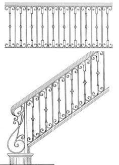 Stair Railing Design Drawings: Inspirations For You Balcony Or Bannister Interior Stair Railing, Stair Railing Design, Balcony Railing, Railing Ideas, Wrought Iron Stair Railing, Staircase Handrail, Bannister, Staircases, Iron Handrails