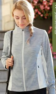 North End Ladies' Shuffle Performance Melange Interlock Jacket.  WE EMBROIDER YOUR LOGO erfect for your pre-game warm up shuffle or after a hard day's work, this lightweight zip-up will keep you dry and at ease. Features inside storm placket with chin guard, center front reverse coil zipper with semi-autolock rubber pull tab, lower front pockets with reverse coil zippers & semi-autolock rubber pull tabs.
