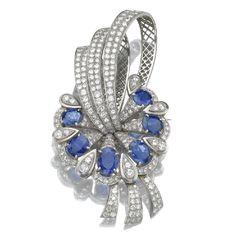 Stylized Foliate Design Sapphires and Diamonds Brooch/Pendant.
