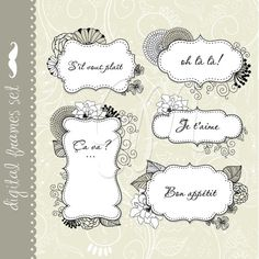 10 Unique Floral Digital Frames clip art with ornamented paper for digital scrapbooking, labels, wedding invitations, stationery. $4.99, via Etsy.