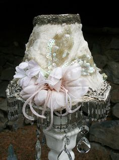 Shabby Romantic Chic Small Cramy White Lamp w/  by ASoulfulJourney, $65.00