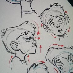 """2 more heads. Adding the arrows helps with the gesture. It works best for profile drawings.  #art #gesture #characterdesign #illustration #drawing…"""