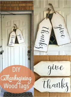 Love this for something different than a traditional wreath. What a great way to decorate my front door for the holidays. Love this for something different than a traditional wreath. What a great way to decorate my front door for the holidays. Wood Projects For Beginners, Diy Wood Projects, Wood Crafts, Diy Design, Thanksgiving Diy, Thanksgiving Decorations, Halloween Decorations, Door Tags, Wooden Tags