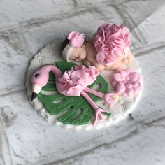 Flamingo baby shower fondant cake topper. Perfect addition for all the summer theme baby showers! #ediblesugarart Flamingo Nursery, Flamingo Baby Shower, Flamingo Cake, Fondant Cake Toppers, Cupcake Toppers, Sugar Art, Baby Shower Cakes, Beautiful Cakes, Keep It Cleaner