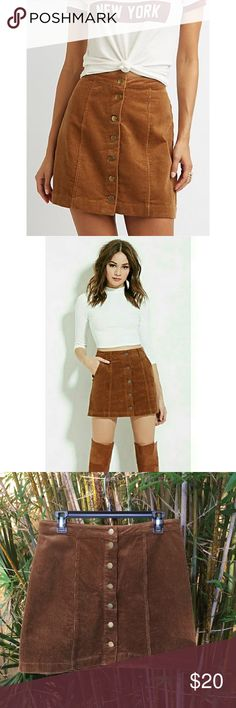 Corduroy Byron Front A-Line Skirt in a Large Super cute corduroy button Front A-line skirt. Perfect for fall/winter. Dress up or down, looks adorable with a pair of booties. Corduroy is a little smushed in back from wear but should bounce back to normal. Skirts A-Line or Full