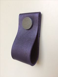 Hand dyed leather pull with purple finish