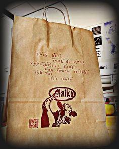 Haiku's Maken | Art To Take bij de Drukpersbrigade Haiku, Paper Shopping Bag, Burlap, Reusable Tote Bags, Art, Art Background, Hessian Fabric, Kunst, Haikou