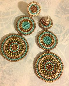 Beadwork triple disc seed bead post earrings. If you like to receive compliments on your jewelry, you will love these gorgeous earrings. I created