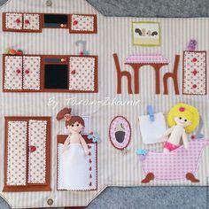 Купить Сумка-домик с куколкой - комбинированный, сумка-домик, фетр, из фетра, хлопок, текстильные игрушки: