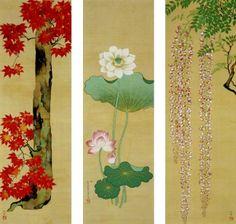 Wistaria Lotus and Maple Tree by Sakai Hoitsu