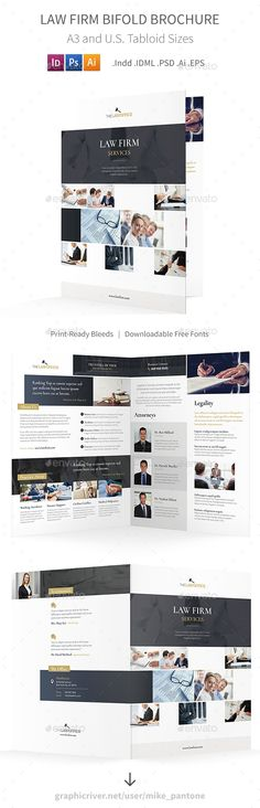 Law Firm Bifold / Halffold Brochure Template PSD, Vector EPS, InDesign INDD, AI Illustrator