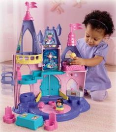 Fisher Price Little People Disney Princess Songs Palace is a palace so enchanting, little girls ages 3 to 6 will absolutely fall in love with it. Designed in colorful pink, purple and turquoise durable plastic, the Princess Songs Palace has multiple levels, nooks and crannies for your child to create all kinds of play scenarios. Designed with classic Disney fairytale characters in mind, the Palace includes one Cinderella and one Snow White figure.  #2014topchristmastoys