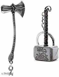 Keychains Advikavya Thor's Stormbreaker & Hammer Silver Keychain (Set of 2) Material: Metal Pack: Pack of 2 Product Length: 10 cm Country of Origin: India Sizes Available: Free Size   Catalog Rating: ★4.4 (1225)  Catalog Name: Fabulous Keychains CatalogID_1196560 C65-SC1422 Code: 771-7442934-088