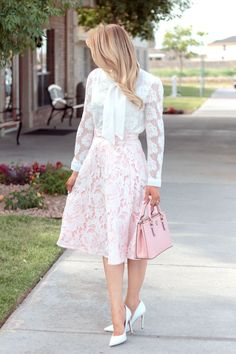 Classy & Feminine Outfit :: Bowknot Lace Shirt & Pink Lace A-Line Midi Skirt - Glamour-Zine Skirt Outfits Modest, Girly Outfits, Unique Fashion, Womens Fashion, Mode Pro, Frack, Dress And Heels, Clothes For Women, Clothes Sale