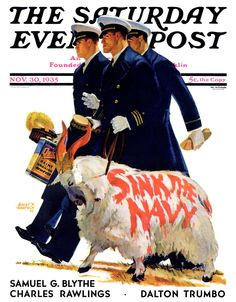 """Sink the Navy"" by Albert W. Hampson. Issue: November 30, 1935. © SEPS"