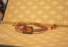Poppy Painting on the Cafe Wall - Adjustable Natural Leather Bracelet by Leftovers4Dinner on Etsy