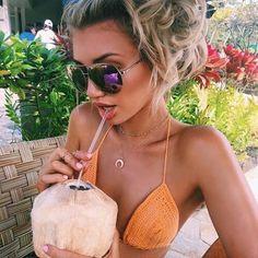 Image in Fashion collection by Athina Siamou on We Heart It #beach #tumblr #sunglasses #coconut #bikini #tropical #girl #fashion #summer #Fashion #photooftheday #F4F #instafollow #random