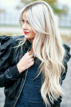 Love the platinum blonde, and the layers and the longer layered bangs by the face