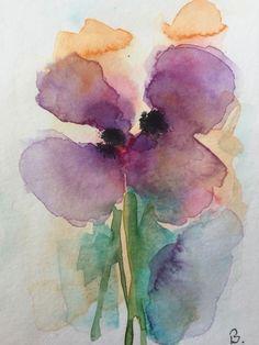 ORIGINAL AQUARELL Aquarellpostkarte Blumen abstrakt Art Watercolor Flowers   eBay