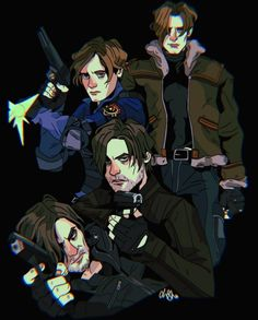 Resident Evil Collection, Leon S Kennedy, Video Game Characters, Fictional Characters, Horror, Spooky Scary, Dragon Age, Game Art, Video Games