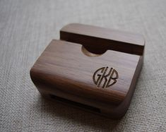 Personalized  wood iPhone Stand/Bamboo iPhone dock/monogram Wood iPhone speaker on Etsy, $14.99