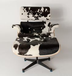Milano Republic Furniture - Replica Eames lounge chair ottoman - Black Cowhide Leather (PU Piping